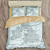 ALLMILL Parure de lit 3 Pièces,100% Polyester Microfibre,Carte de Gravure de l'Angleterre de l'Encyclopédie complète de la Science iconographique d'origine