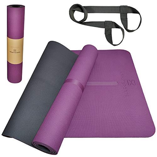 Infinitsports - TPE Yogamatte, Gymnastikmatte, Fitnessmatte, extrem rutschfest & schadstofffrei - Yoga Matte, Pilates Matte, Sportmatte mit (Yoga-) Tragegurt - 183x62x0,6cm (lila)