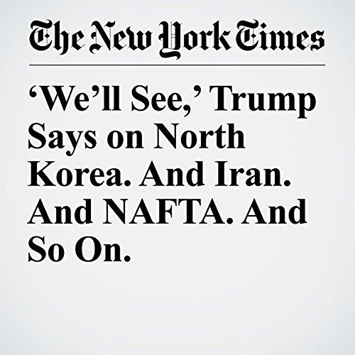 'We'll See,' Trump Says on North Korea. And Iran. And NAFTA. And So On. copertina