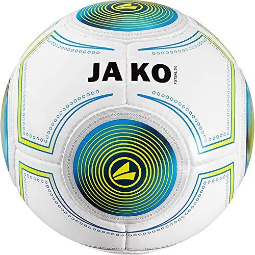JAKO Herren Ball Futsal 3.0, weiß blau/lime-420g, 4