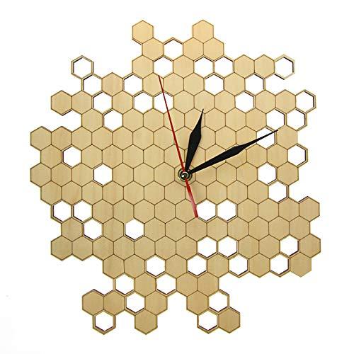 xinxin Relojes de Pared Reloj de Pared de Madera de inspiración Natural con Forma de Panal Reloj de Pared Hexagonal Grabado con láser de Estilo Moderno Reloj de Pared Bamboo Bee Decoración del hogar