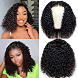 4x4 Curly Short Bob Wig Natural Black Color Lace Front Closure Human Hair Wigs Curly Brazilian Virgin Hair Wig for Women Middle Part Lace Bob Wigs (12 inch)