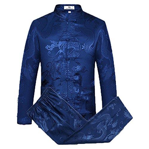 Airuiby Tang Anzug Männer Traditionelle chinesische Kleidung Anzüge Hanfu Baumwolle Langärmeliges Shirt Mantel Herren Tops und Hosen (Dunkel blau, XL)