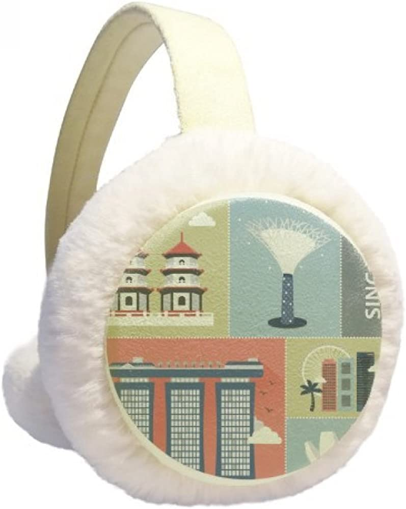 Singapore Skyscraper Famous Spots Winter Ear Cable F Knit Large special price Warmer Max 88% OFF