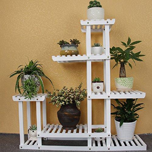 Bois massif Fleur Cadre pliable étagères balcon intérieur Salon Pot Plante Cadre Rack Blanc