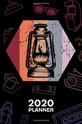 2020 PLANNER Weekly and Monthly: Retro Lover Organizer - Jan-Dec 160 Pages A5 6x9 - 70s Lovers Diary Retro Decoration Journal Notebook 70s Party Calendar - Retro Oil Lamp Gift for Men & Women