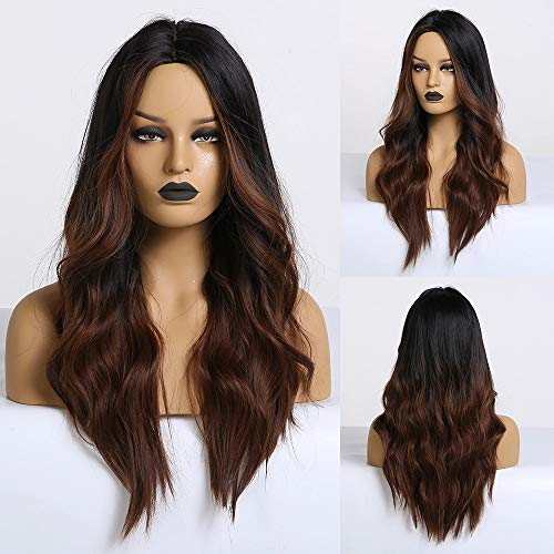 Piaou Ombre Black to Light Brown Wig Synthetic Wigs for Women Long Natural Wave Heat Resistant Hair Wigs Natural Looking Wavy for Daily