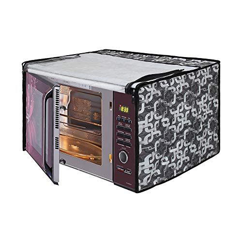 Glassiano Geometric Grey Printed Microwave Oven Cover for LG 32 Litre Convection...