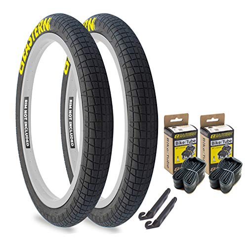 Eastern Bikes Throttle 20 inch BMX Tires Available with or Without Tubes, 2.2, 2.3 and 2.4 Inch Widths, White or Yellow Logo. (2.2' White Logo, 1 Pack with Tubes)