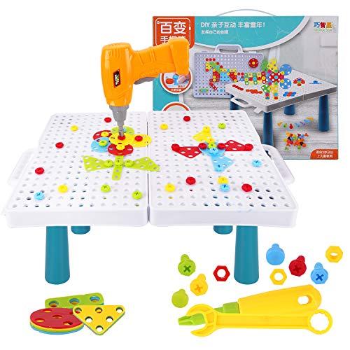 Colmanda Steckspiel Spielzeug, 251 Stück Mosaik Steckspiel 3D Puzzle Kinder Mosaik, kreative Bohrmaschine Schraube Puzzle Lernen Spielzeug für ab 3+ Jahre Junge Mädchen Geschenk