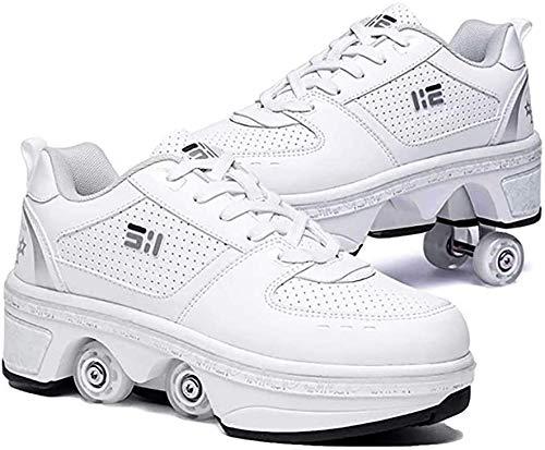 Doble Rodillo Zapatos De Skate, Zapatos Invisible De Polea De Zapatos Zapatillas De Deporte Luz Zapatos Zapatos Multiusos, Niños Zapatos con Ruedas