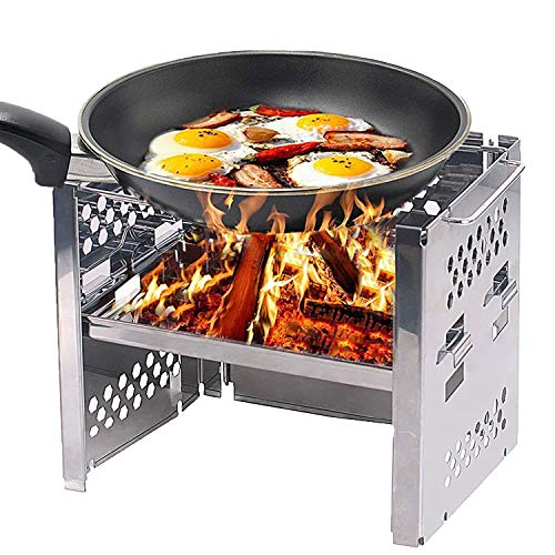 KJDS Wood Burning Stove Stainless Steel Backpacking Stove Potable Camping Stove Folding Camp Stove Camping Folding Windshield Wood Stove Mobile Camping Stove