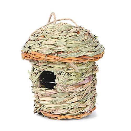 Cama de paja hecha a mano de los nidos de los pájaros de la casa para mascotas Loro periquito cacatúa conure canario pinzón paloma jaula hámster rata gerbil ratones jaula alimentador juguete