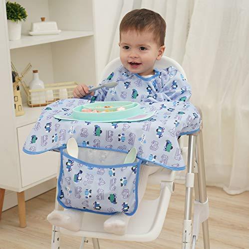 PandaEar Baby Weaning bib Feeding Coveralls Straps | Highchair Booster Seat| Boy Girl Toddler Kids (Neutral)