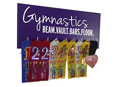 RunningontheWall Gymnastics Medal Holder, Gymnast Medal Rack Gymnastics Beam.Vault.Bars.Floor. Gymnastics Ribbon Rack, Gymnast Award Holder