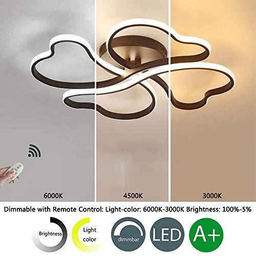 Lámpara de techo LED, regulable, 4 focos, forma de corazón, lámpara de techo, moderna, para dormitorio, salón, comedor, con mando a distancia, diámetro de 58 cm, 75 W