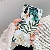 Surakey Coque pour Huawei P30 Lite Coque Fleur Feuilles Motif Coque Silicone Gel TPU Case Cover...