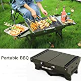 Barbecue Grill, Portable BBQ Grill Foldable Charcoal Stainless Steel BBQ Smoker Tool for Camping Picnic Outdoor Terrace Garden Party, 483317cm for 3-5 People Gathering,Army Green