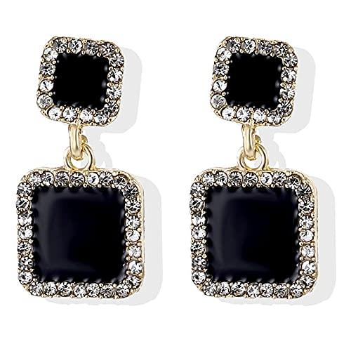 FEARRIN Conjunto de Pendientes para Mujer Pendientes de Cristal Pendientes geométricos Cuadrados Negros para Mujer Joyería de declaración de Diamantes de imitación de Boda LNI1014-7