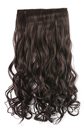 OneDor 20' Curly 3/4 Full Head Synthetic Hair Extensions Clip On/in Hairpieces 140g 5 Clips (6#- Medium Chestnut Brown)