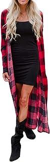 Realde Donna Camicia Elegante Cappotti Magliette Manica Lunga Lungo Cappotto Stampa a Quadri Scozzesi Eleganti Casual T-Sh...