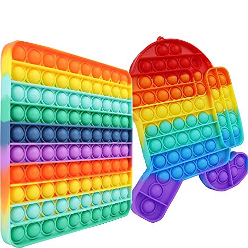 Big Pop Bubble Fidget Sensory Toy Rainbow Square 2 Pack for Kid Poppers 100 Poppit Popet Popping...