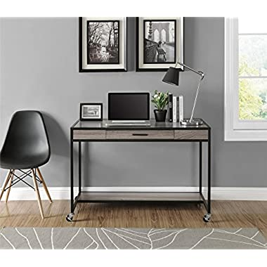 Ameriwood Home Mason Ridge Mobile Desk with Metal Frame, Weathered Oak