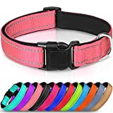 Joytale Reflective Dog Collar,Soft Neoprene Padded Breathable Nylon Pet Collar Adjustable for Puppy and Small Dogs,Pink,XS