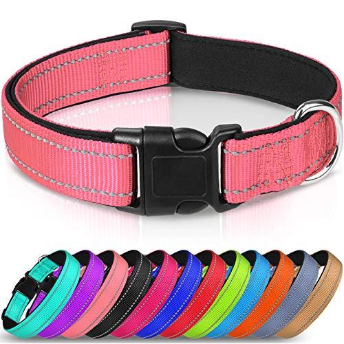 Joytale Hundehalsband Große Hunde, Reflektierend Halsband Hund Breit für Mittlere Hunde, Gepolstert Hundehalsbänder,Pink
