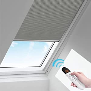 Motorized Cellular Shades Battery Bank Optional Cordless Honeycomb Blinds Full Blackout Fabric Window Shades for Skylight (Light Grey)…
