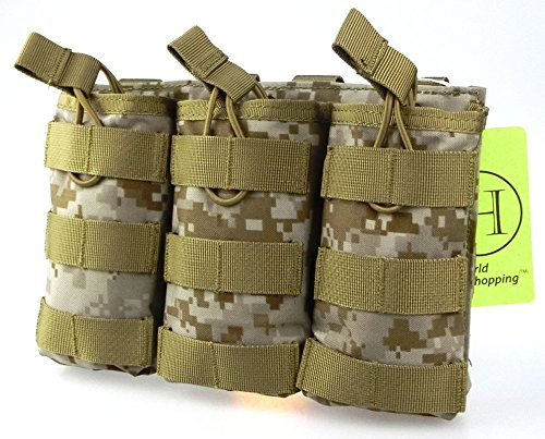 H World Shopping Tactical Molle M4 M16 AR15 Magazine Pouch Open Top Mag Holder Triple Airsoft MOLLE Mag Pouch (AOR1)