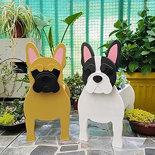 2021 New Pug Planter, Corgi Planter, French Bulldog Planter, Chihuahua Dog Planter, Golden Retriever Planter, Decorative Gardener, Animal Pot for Garden Decoration, Patio (White French Bulldog)