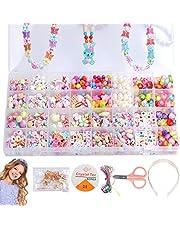 Aischens Enfants Bricolage Perles Set, Kit de Fabrication de Bijoux Art Crafts Jouets Perle Enfant Classiques et Bijoux, pour Fabrication de Bijoux Collier Bracelets Bande de Cheveux (32 Grilles)