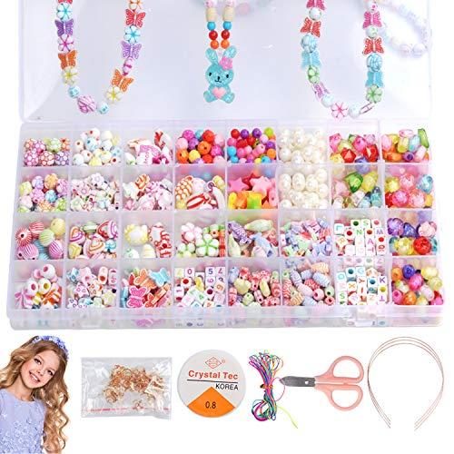 Aischens Niños Bricolaje Conjunto de Cuentas, 32 Clases Pulseras Kit Coloridas DIY Set de Perlas para Fabricación de Joyas para Niñas, Cuentas para la Fabricación de Joyas para Niño