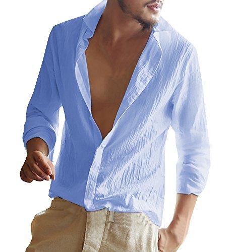 Gemijacka Herren Leinenhemd Langarm Herren Hemd Sommerhemd Herren Regular Fit Freizeithemd Blau M