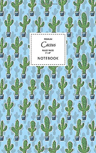 Cactus Notebook - Ruled Pages - 5x8 - Premium Cuaderno (Saguaro Sky Blue)