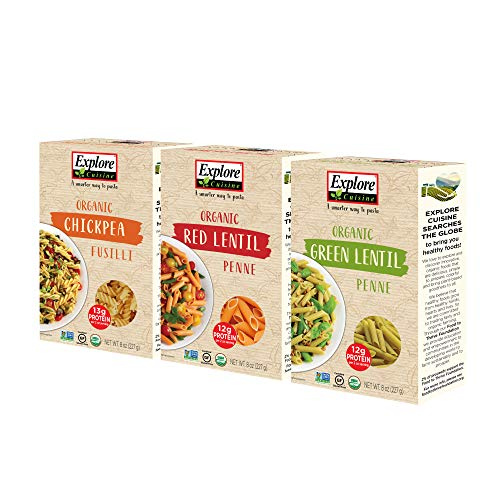 Explore Cuisine Organic Pasta Variety Pack - Chickpea Fusilli, Green Lentil Penne, Red Lentil Penne - 1 Box Each, 8 oz - High Protein, Gluten-Free Pasta - 12 Total Servings