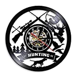 HIDFQY Logo de Caza Rifle Gun Logo Reloj de Pared Animal Hunting Adventure Vinyl Record Reloj de Pared Desierto Tribal Decoración de Pared Hunter Gift No LED