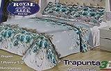 Russo Tessuti Trapunta Piumone Matrimoniale Royal House Stampa 3D Rose Perla Azzurre