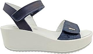 Sandali donna IGIeCO 7164222 scarpe zeppa casual comoda plateau pelle platform