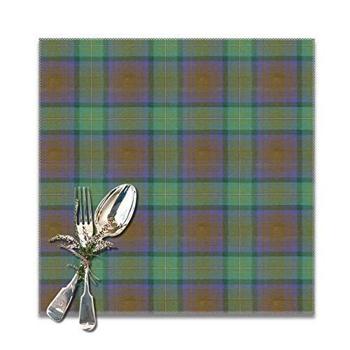Juego de 6 manteles individuales para mesa de comedor, lavable, antideslizante, perfecto para el uso diario, tapete cuadrado para platos de café, cocina, tartán Isle of Skye