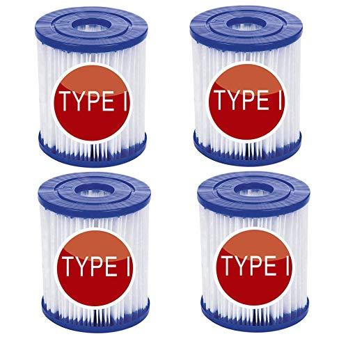 Mscomft Sustituye a los cartuchos de filtro para piscina Bestway tipo I, filtro de piscina hinchable para Bestway 58093 filtro tamaño 1, accesorio para limpieza de piscina (4 unidades)