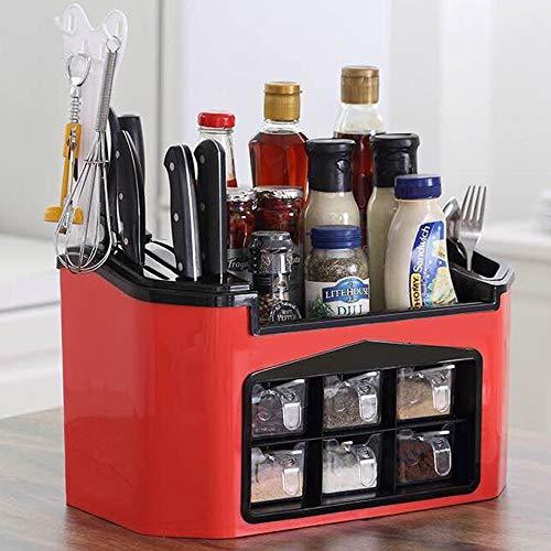 GRX-ZNLJT Kruidenrek, keukenrek, kruidenrek voor keukenkast en werkblad, uittrekbare kruidenrek van kunststof, praktische keukenorganizer