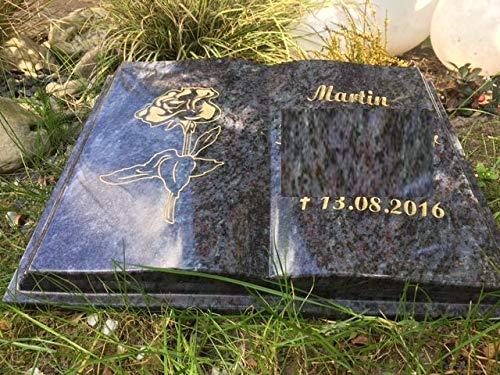 ABC Grabstein Buch Liegestein Grabmal Urnenstein Urnengrabstein Bibel 45cm x 35cm x 6cm inklusive Gravur und Stützkeil