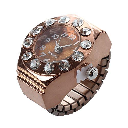 TOOGOO Rund Ringuhr Finger Uhr Fingeruhr Uhrenring Rosengold