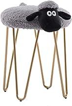 Iron Art Imitation Lamb Velvet Cushion Round Ottomans Foot Stool, Dressing Table Stool,Lovely Washable Upholstered Seat Cover