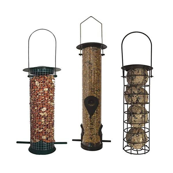 Heritage Deluxe Wild Bird Hanging Feeders Set - Peanut Feeder, Fat Ball Feeder & Large Seed Feeder