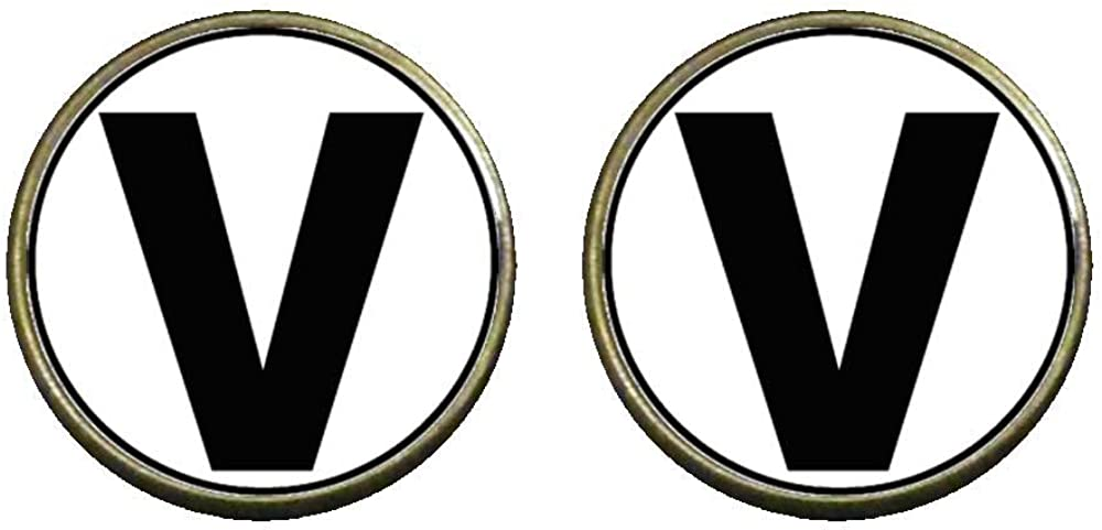 GiftJewelryShop Bronze Retro Style Black Letter V Photo Clip On Earrings 14mm Diameter