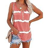 Camisetas Mujer Verano sin Mangas Raya Casual Blusas y Camisas,Elegante Cuello Redondo Sexy Baratas Camisola Loose Tops