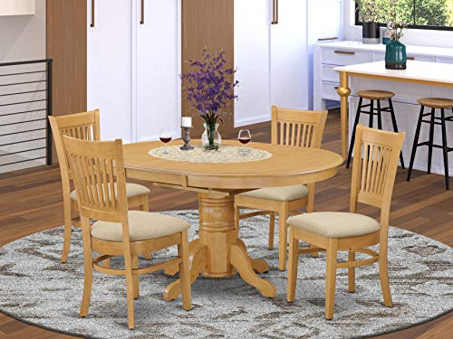 East-West Furniture AVVA5-OAK-C dining room table set- 4 Awesome wooden dining chairs - A Lovely dinner table- Microfiber Upholstery seat and Oak Finnish Butterfly Leaf kitchen table